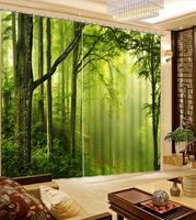 Luxury European Modern Green Forest 3d Curtain Fashion Decor Home Decoration For Bedroom