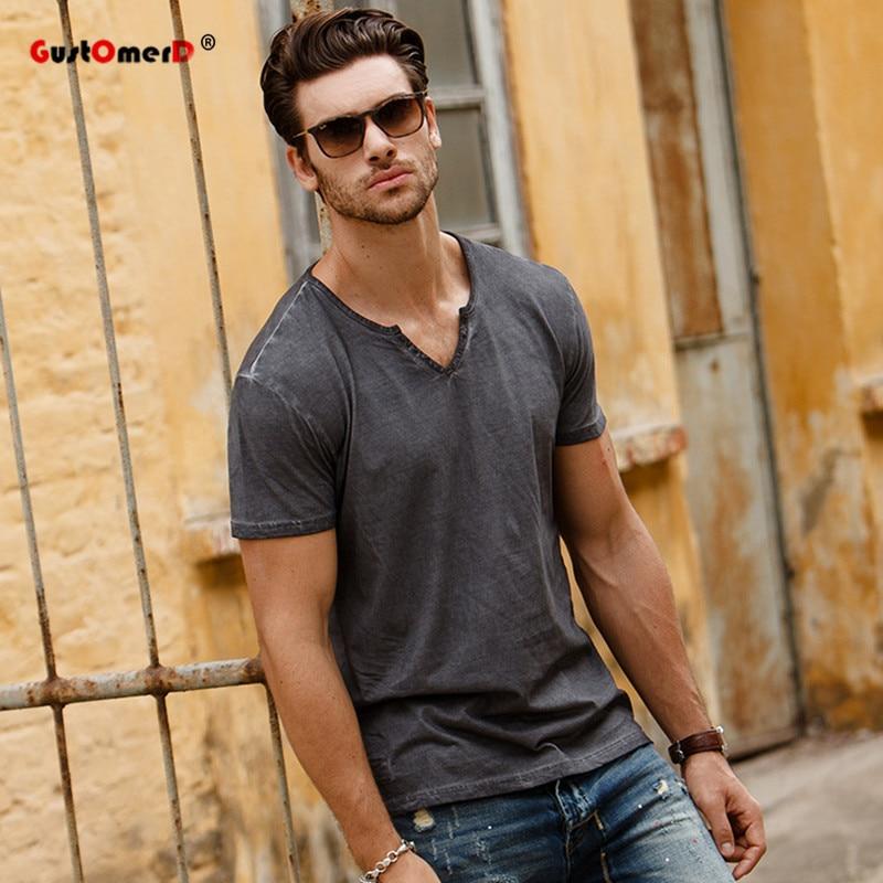 GustOmerD 2017 Mode Neue Sommer T Shirts Einfarbig V-ausschnitt Tops Tees Slim Fit Männer Casual Marke Kleidung Mens Grau T Shirts