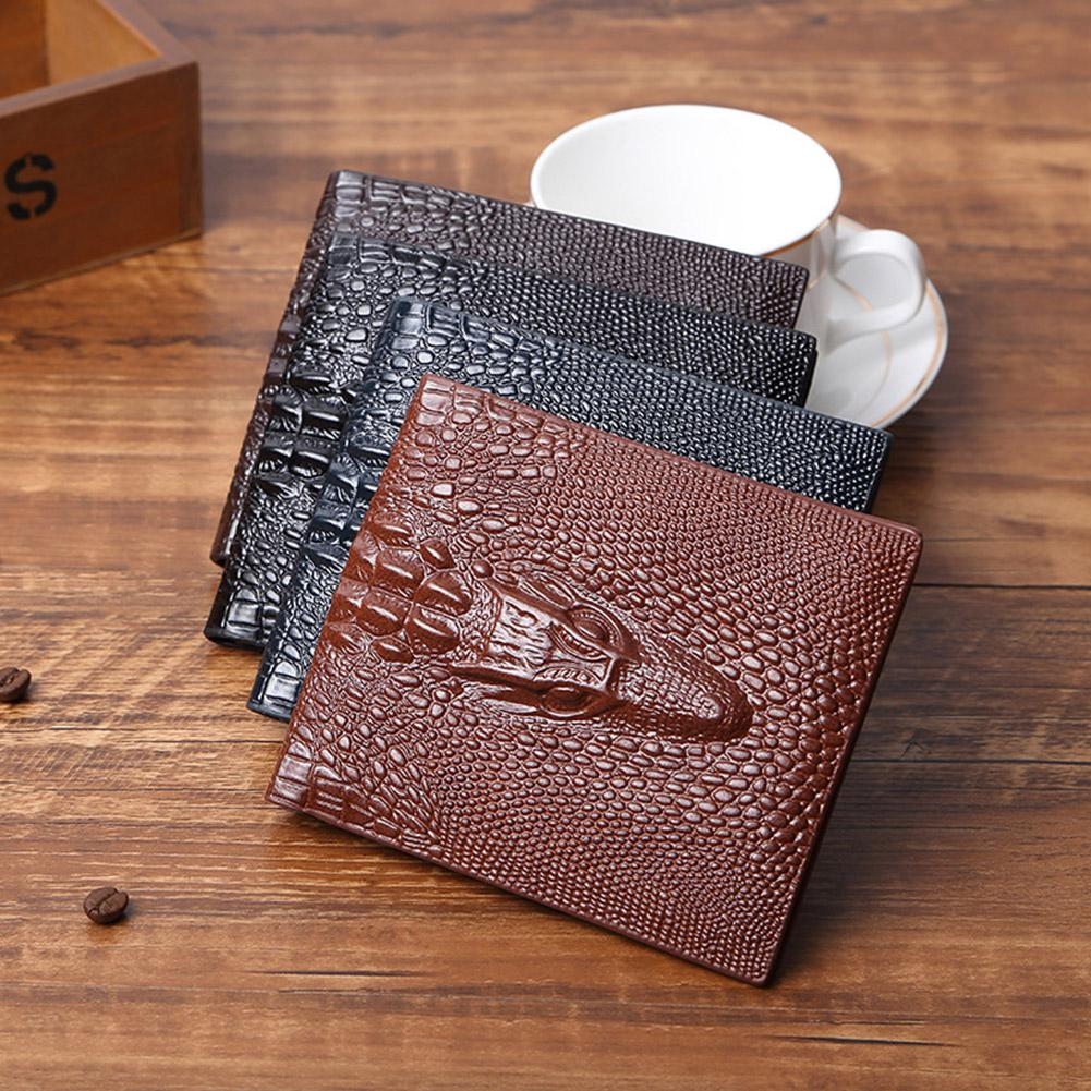 Yfashion Men Alligator Short Purse Retro Solid Color Short Wallet