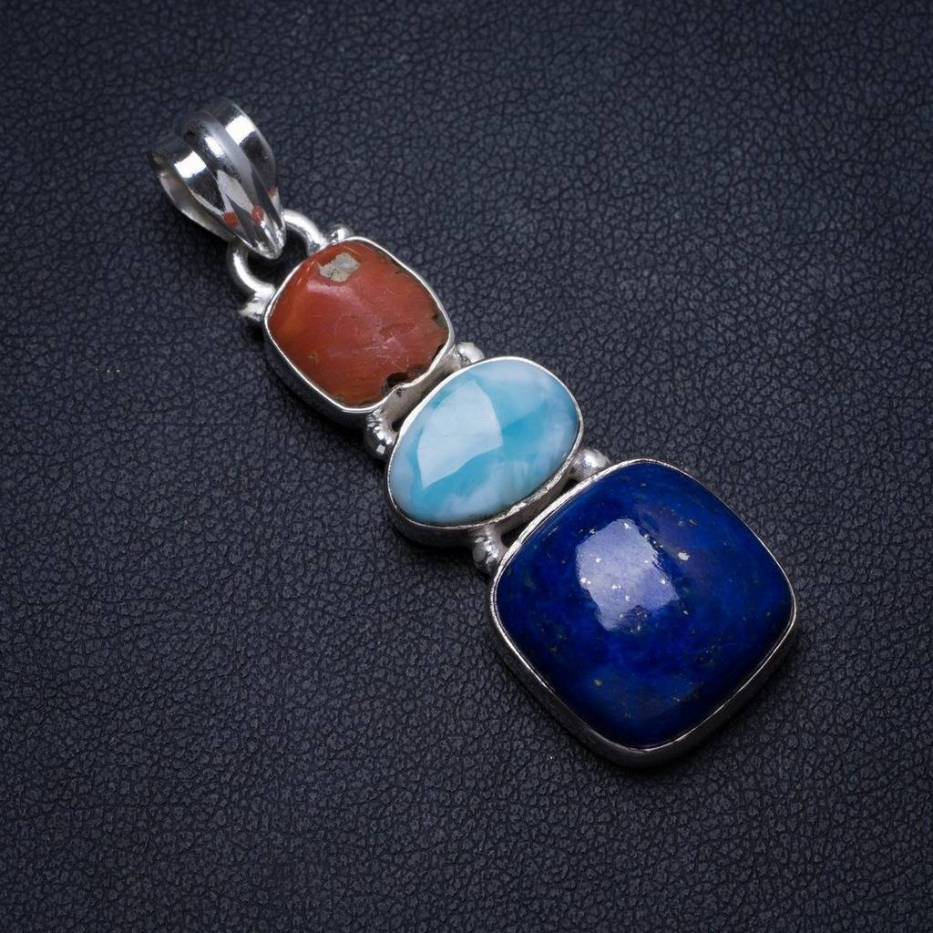 Natural Lapis Lazuli,Larimar Natural Hole Red Coral Handmade Unique 925 Sterling Silver Pendant 2