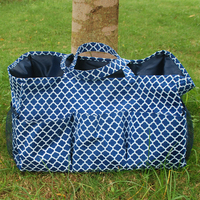 Personalize Quatrefoil Print Large Size Garden Tote Bag Perfect Quality Gardener Bags With Outside Multi Pockets in 4 Colors