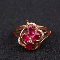Robira 2017ร้อนแหวนแฟชั่นสำหรับผู้หญิง18พันRose G Oldรูปดอกไม้สีแดงทับทิมแหวนสำหรับผู้หญิงเพชรวิจิตรเ...