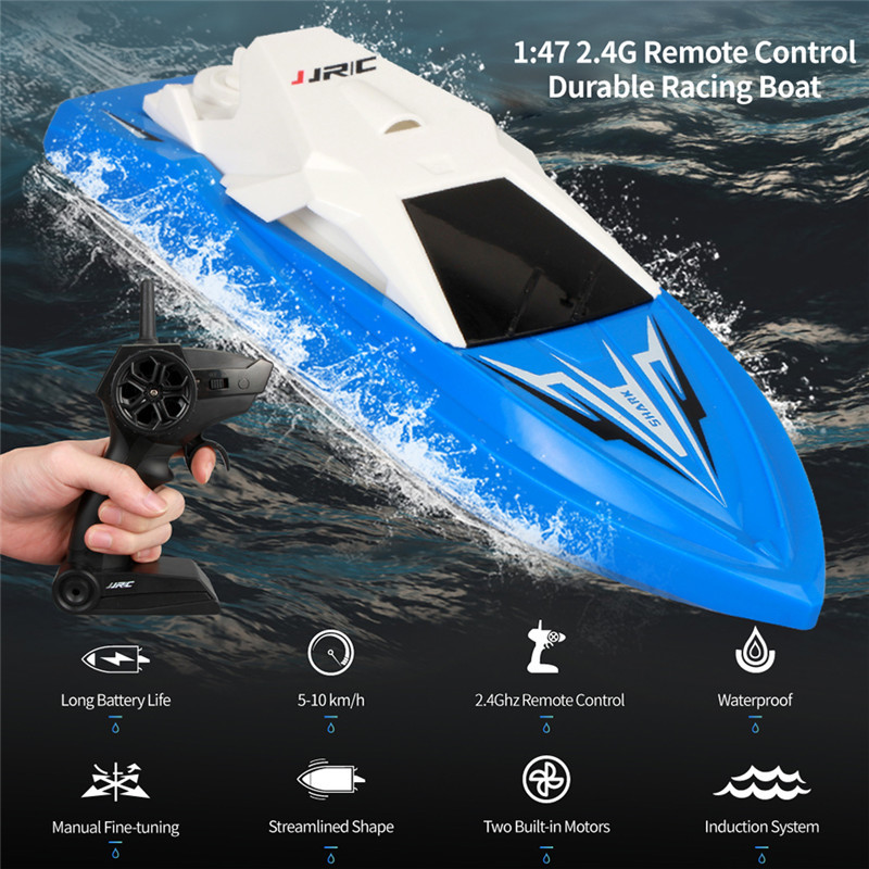JJRC S5 Baby Shark 1 47 10km h 2 4g Electric Rc Boat With Dual Motor Racing Rtr Ship Model 20 Minis Using Time Outdoor Toys in RC Boats from Toys Hobbies