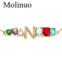 цены Molinuo Exquisite Gold Color charm bracelet inlay Colorful CZ Cubic Zirconia A-Z Initials Letter bracelet For Women Fine Jewelry