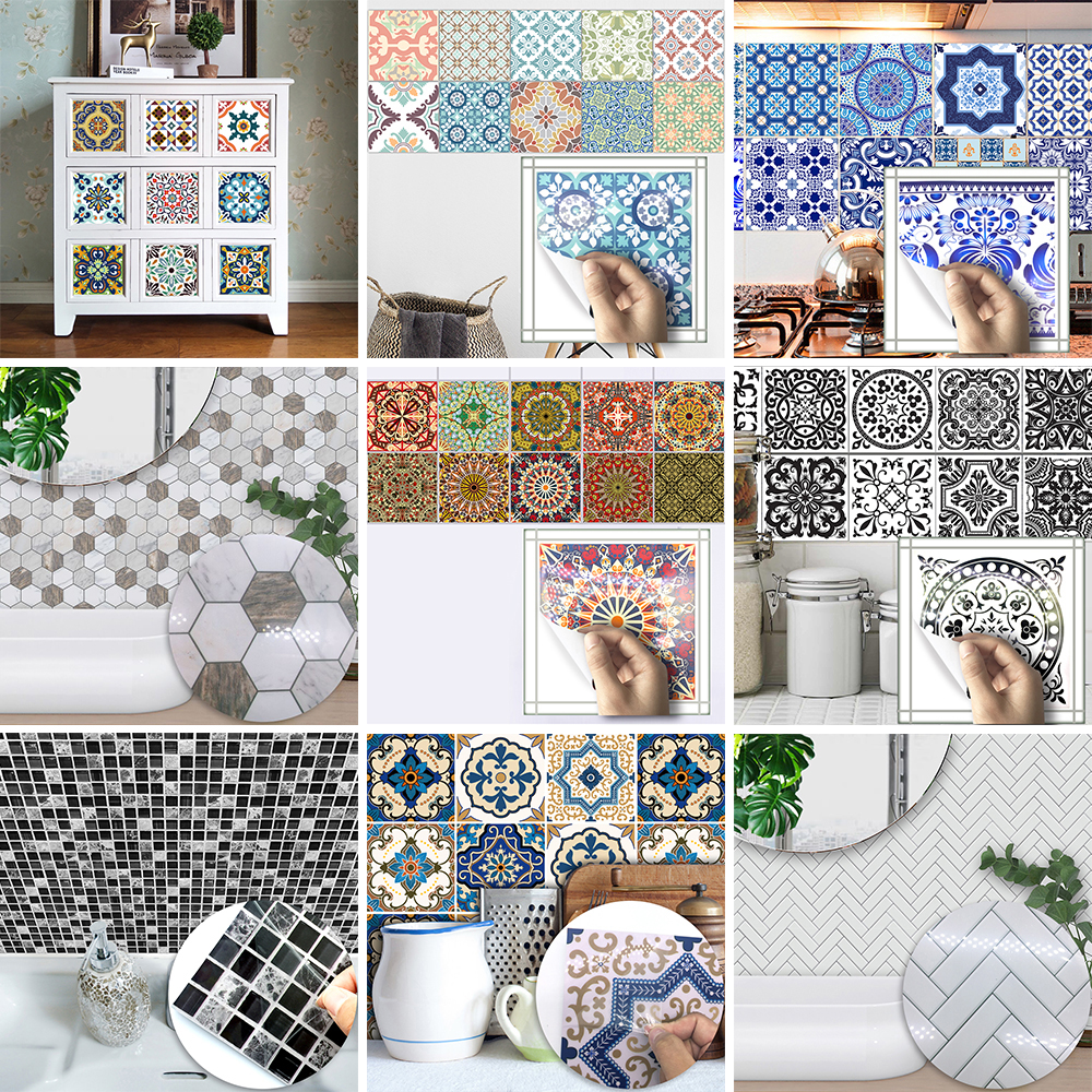 Funlife 15*15cm Wholesale PVC Waterproof Self adhesive Furniture Kitchen Mediterranean Moroccan Arab Herringbone Tile Sticker shelf