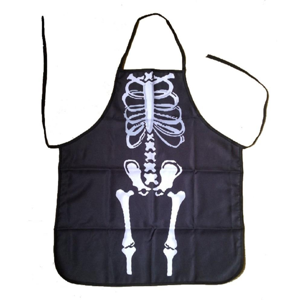 White apron to decorate - Hot Sale Gothic Chef Bib Halloween Skeleton Bones Costume Apron Hostess Gift Decoration Fashion Popular Apron