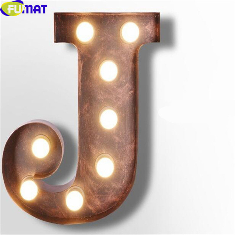 FUMAT Iron Letters J Wall Lamps Vintage Simple Art Deco Wall Lights Logo Wall Sconce Living Room Cafe Bar Metal Letter Lights
