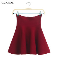 Women Pleated Mini Skirts Mercerized Cotton Bandage High Waist Skirts Vintage Casual Knitted Stretch Skirt For