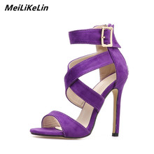 5a474ea6e MeiLiKeLin clássico Sexy mulheres Roxo sandálias Gladiador Cross-tie Fivela  de tiras sandálias mulheres altas sapatos bomba de s.