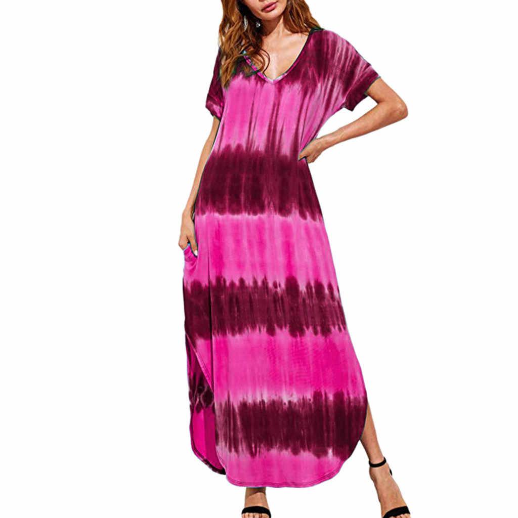 Женское летнее Модное Длинное платье больших размеров 5XL с глубоким v-образным вырезом, Повседневное платье с коротким рукавом с градиентным принтом и разрезом по бокам, повседневное женское платье