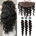 13X4 Lace Frontal Closure With Bundles Peruvian Virgin Hair With Loose Wave Closure Rosa Queen Hair Products With Closure Bundle
