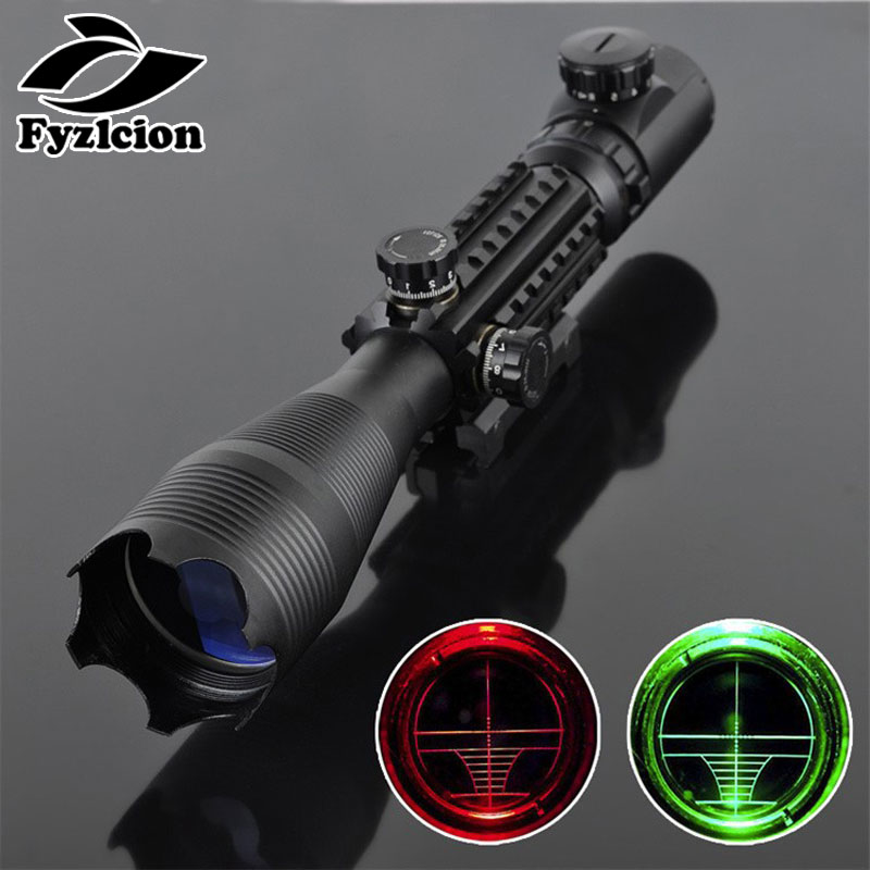 Hunting 4 16x50 Tactical Rifle scope Red Green Riflescope High Reflex Scope Optics Waterproof with 20MM Rail Mounts