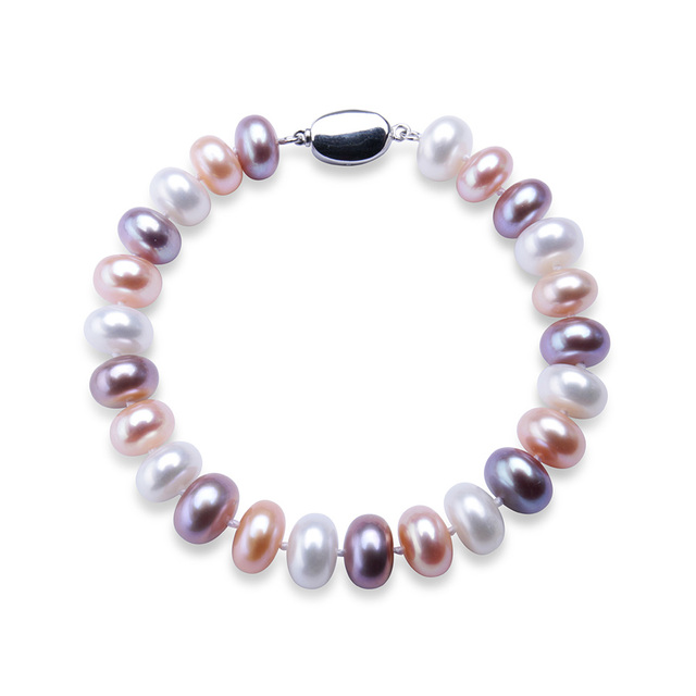 2017 New Arrival Women AAAA Genuine Freshwater Pearl Beaded Bracelet Fashion Good Quality Gold Plated Jewelry white/pink/purple