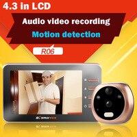 4.3 ''аудио видео глазок двери Камера TFT ЖК дисплей для цифровых просмотра глазки видео Регистраторы Ночное видение обнаружения движения Сред