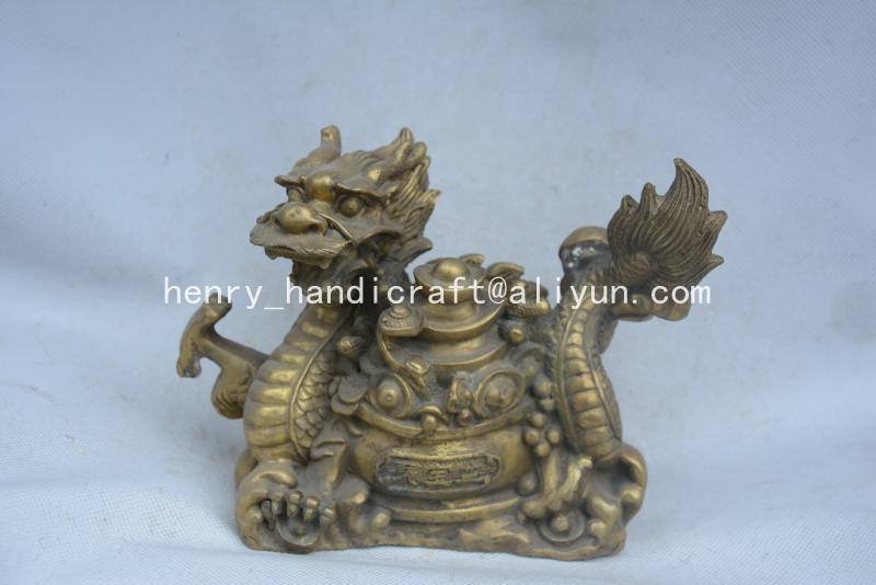 Belle ancienne statue/sculpture de dragon en laiton de la dynastie qingdynastie, dragon donner de l'argent, meilleure collection et parure, livraison gratuite