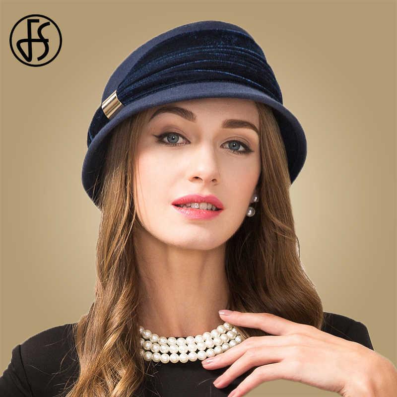 e47a21df1eb FS Vintage Sapphire Blue 100% Wool Felt Fedora Winter For Women Fall Hat  Short Brim