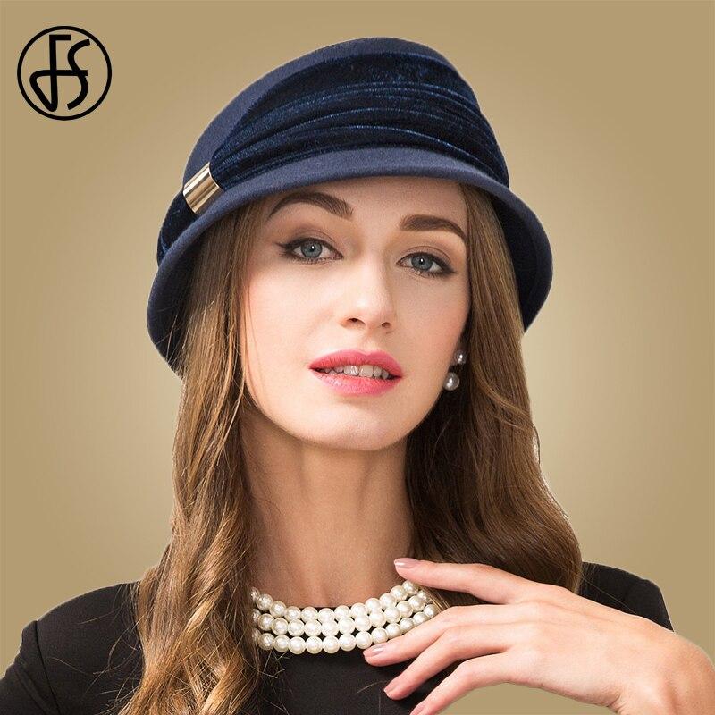 FS Vintage Azul zafiro 100% fieltro de lana sombrero de Invierno para mujer  otoño sombrero de ala corta Cloche sombreros de capeu Feminino sombreros de  ... d5a1f669e2e