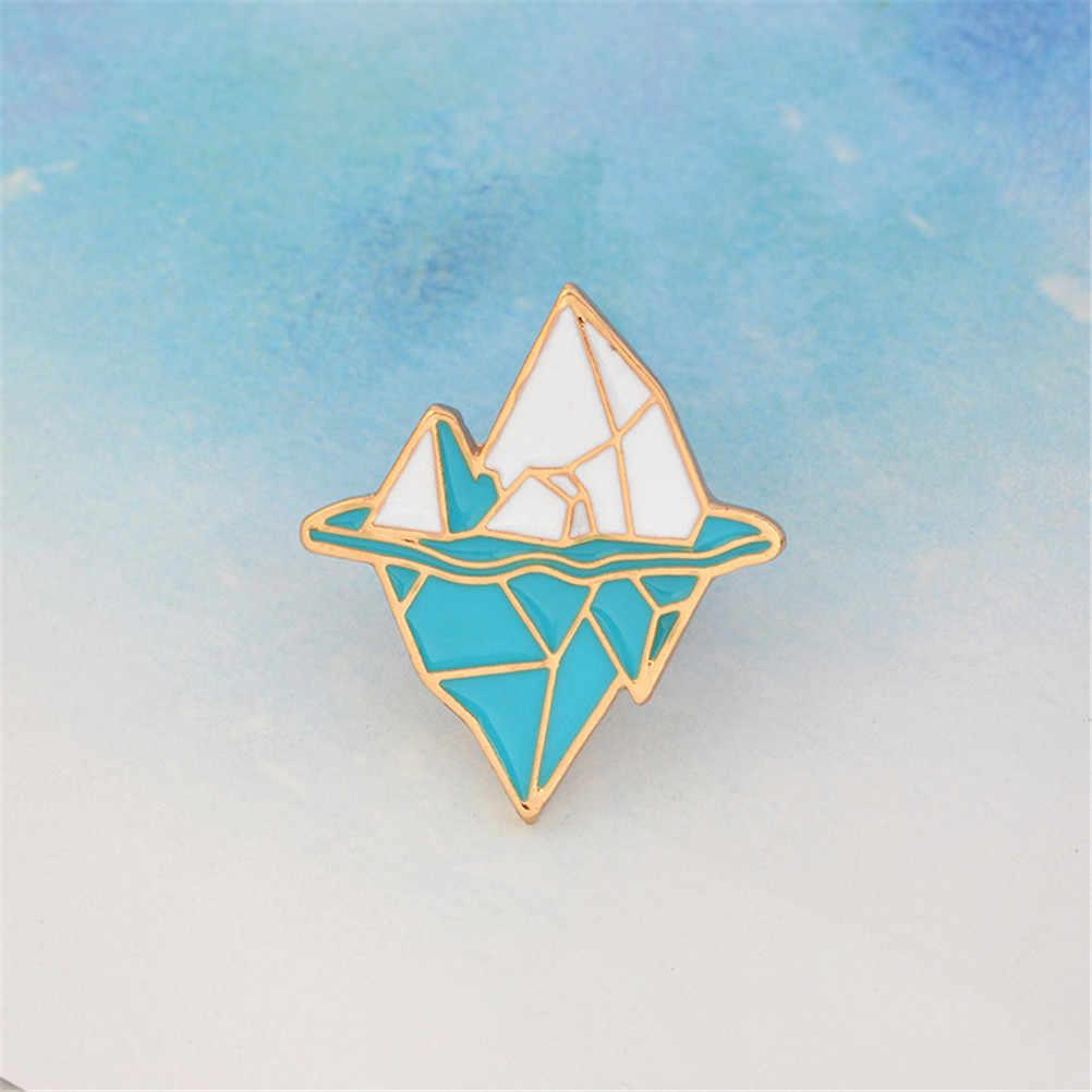 NEW Enamel Pin gesper Putih Biru Logam Gunung Salju Bros untuk Mantel Jaket Tas Pin Lencana Perhiasan gunung es Antartika bros