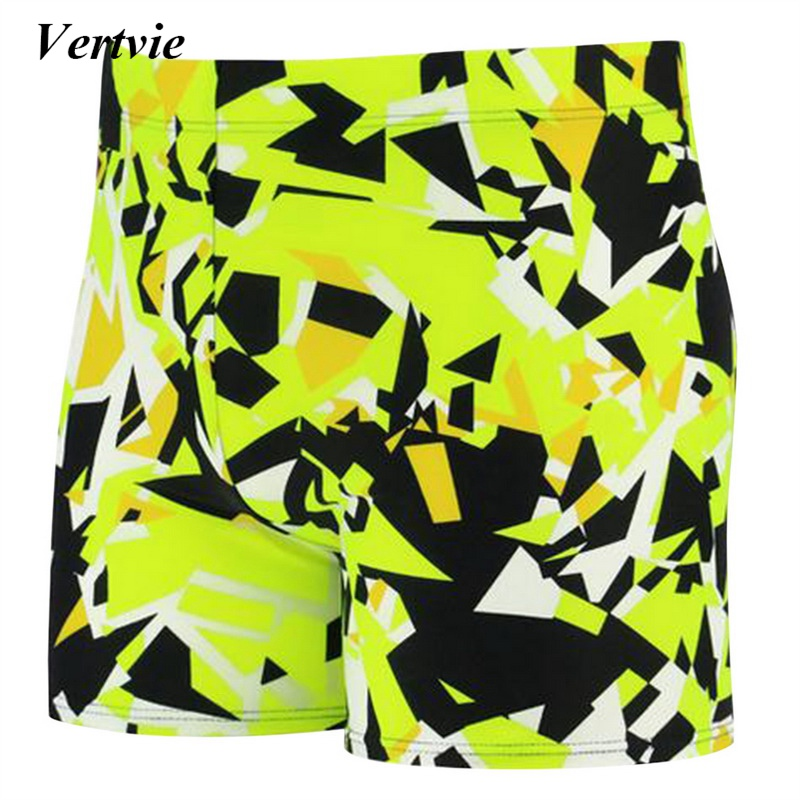 Vertvie Printing Swimming Shorts For Men Quality Trunks Breathable Board Shorts High Elastic Swimming Board Short Pants Trousers
