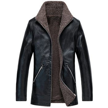 New men's autumn and winter plus velvet thick PU leather large size fur one coat