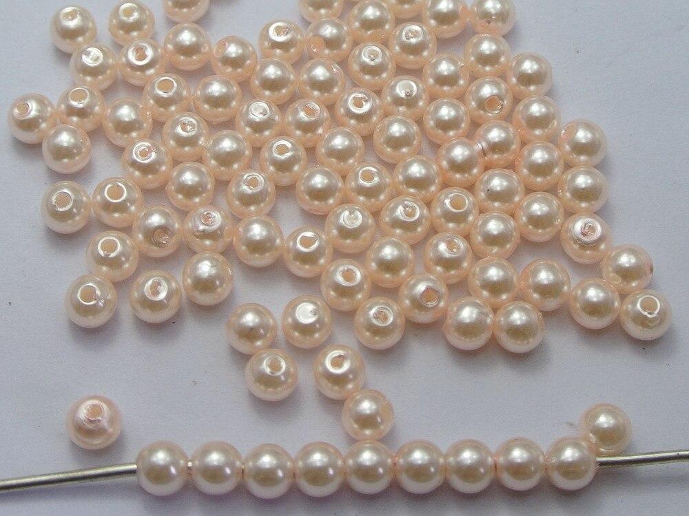 500 шт. 6 мм Пластик искусственный жемчуг круглый Бусины Лососево-розовый с искусственным жемчугом