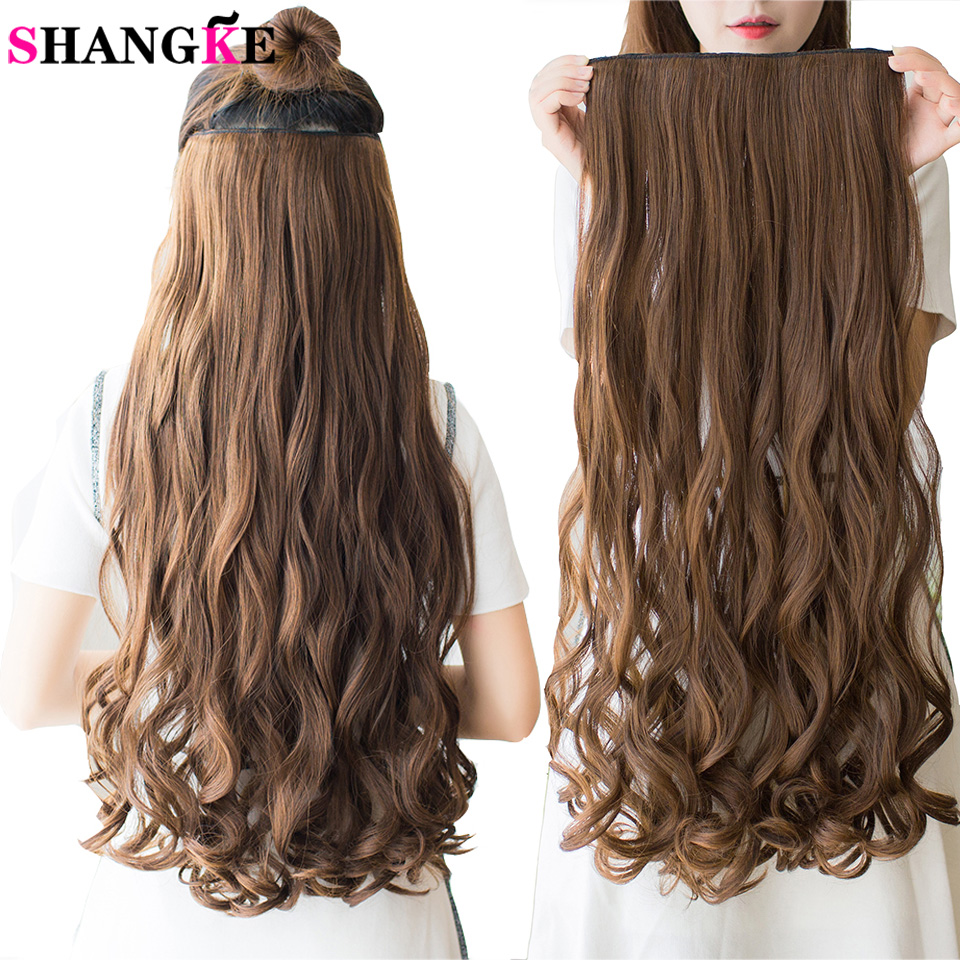 SHANGKE Long Synthetic Hair Clip In Hair Extension Heat Resistant Hairpiece Natural Wavy Hair Piece 1