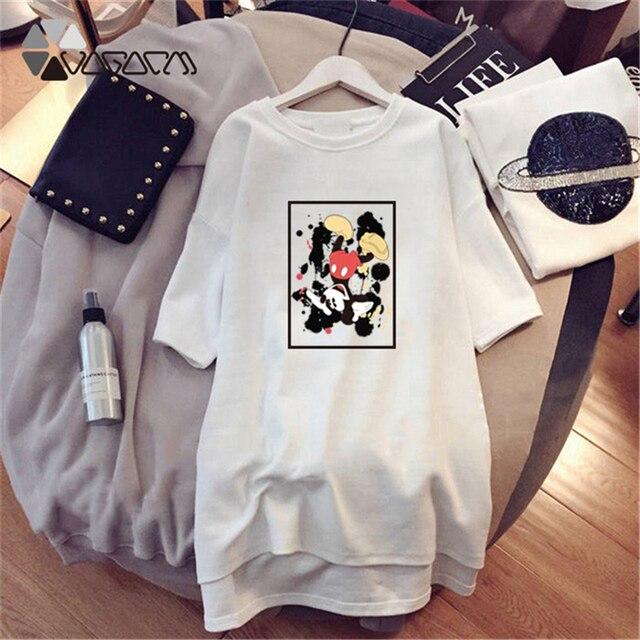 2019 Minnie  Cute Women Cartoon T Shirt Dresses Short Sleeve White Mini Casual Fashion Loose Summer Dress Plus Size M-4XL 2