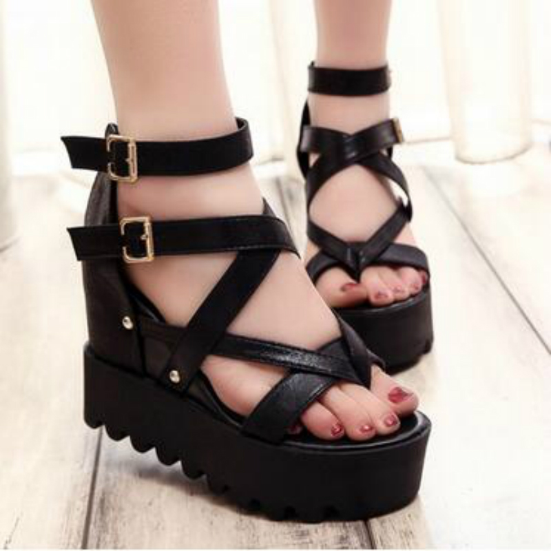 Fashion Sandals Summer Wedges Women's Sandals Platform Lace Belt Bow Flip Flops open toe high-heeled Women shoes Female 9909W free shipping fashion 2017 new summer wedges platform sandals women black and white open toe high heels female shoes z596