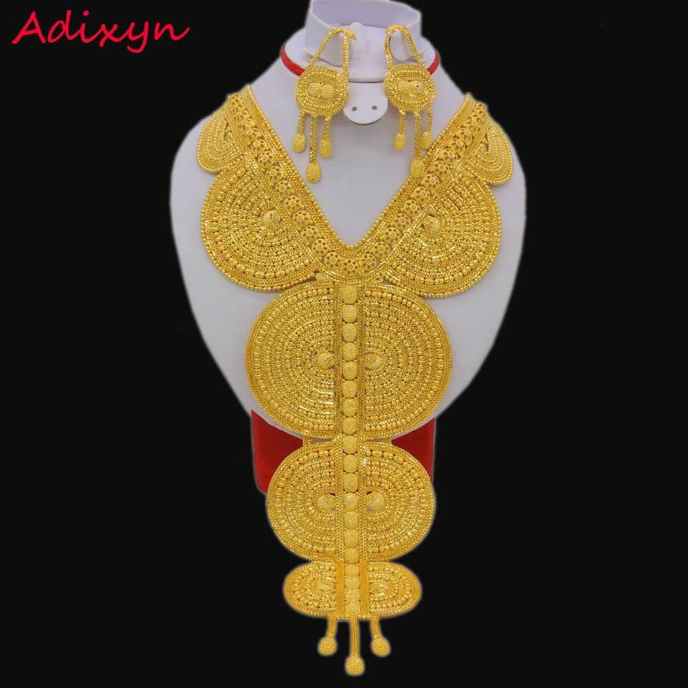 Big Size/Heavy Fashion Necklace/Earrings Jewelry Sets For Women Gold Color Arab/Ethiopian Jewelry Luxury Wedding Gifts