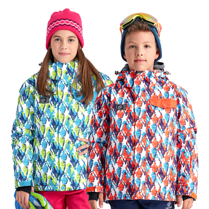 Tectop Outdoor Kids Skiing Jackets Windproof Breathable Thicken Warm Children Boys Girls Ski Cotton padded Jackets Snow Coats