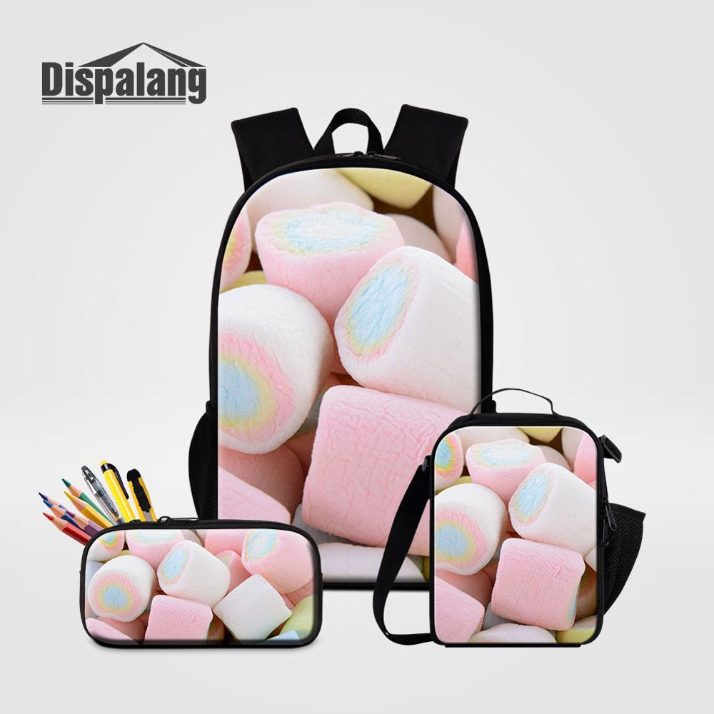 3D Marshmello Backpack School Bookbag Set With Lunch Bag Pen Bag Kids 3PCS Set