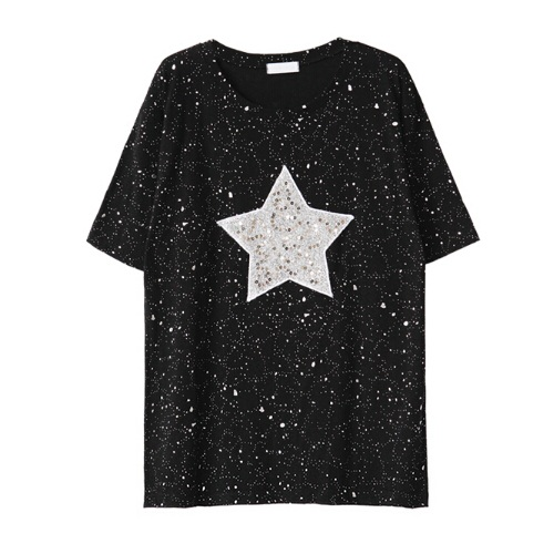 2018 Women Summer Plus Size T Shirt Shiny Star Patterns With Sequined T  shirt Women Fashion Loose Casual Tops Tee Shirt Femme-in T-Shirts from  Women s ... b35c8a2ea301