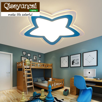Qiseyuncai Children's room personality super thin acrylic cartoon star led eye protection ceiling lamp boy girl bedroom lighting