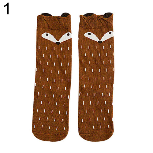Hot Warm Fashion Baby Children Girls Fox Pattern Socks Soft Cotton Knee High Hosiery 7GLM