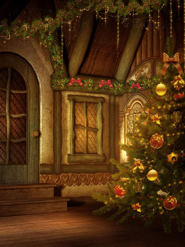 Christmas Tree Hut Warm Photo Backdrop Vinyl Cloth High