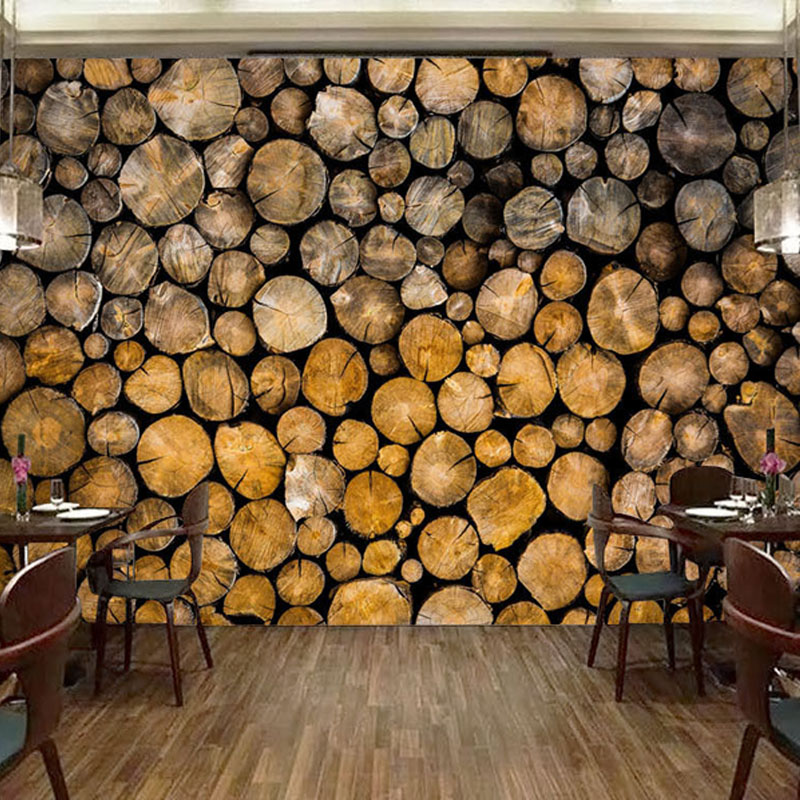Custom 3D Mural Wallpaper Retro Log Wood Fresco Restaurant Cafe Kitchen Background Wall Decor 3D Creative Abstract Wall Papers