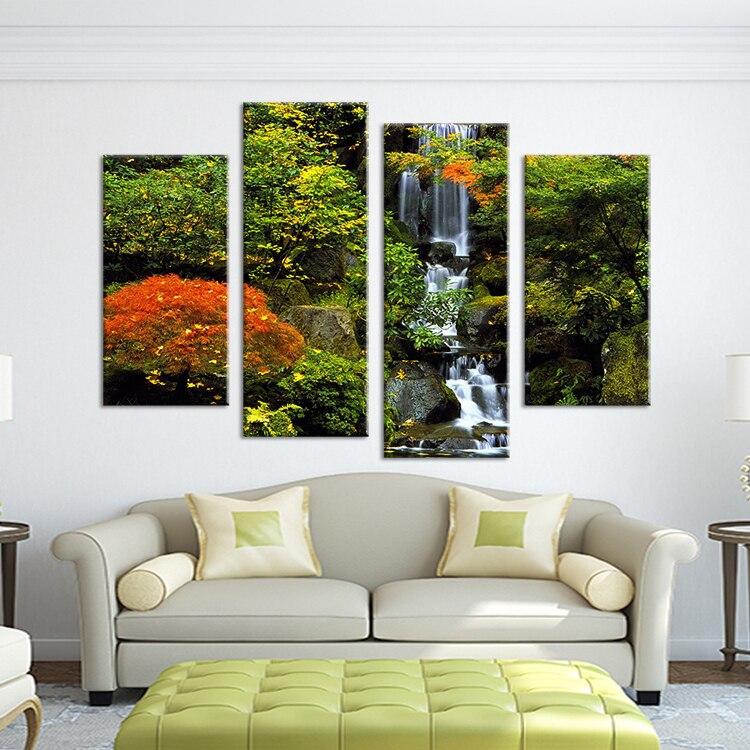 4 unidades No enmarcado cascada pinturas pared pintura grabado en la ...