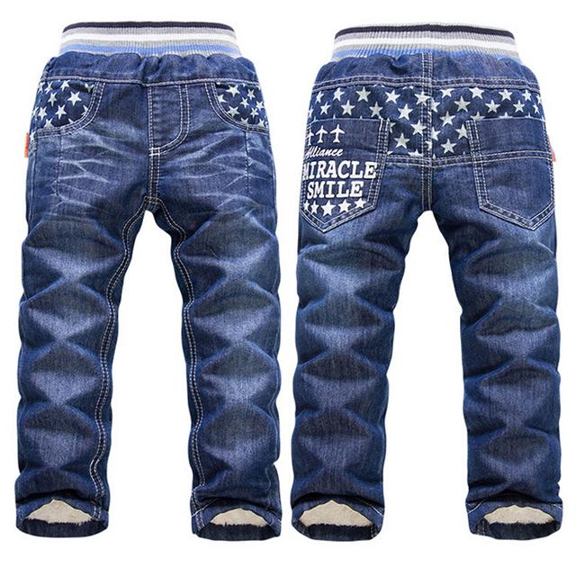 6-10Yrs Crianças Roupa Nova 2016 Bebés Meninos Meninas Calças Jeans Pentagrama Calças Quentes de Alta qualidade de Inverno Adicionar Lã Calças de Brim