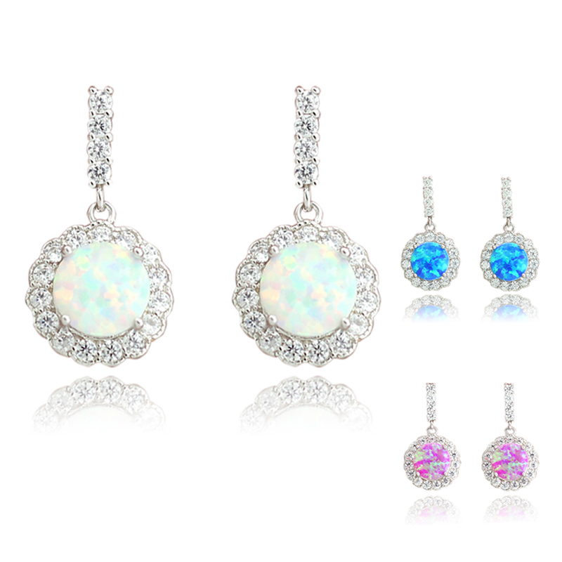 Wholesale Retail Synthetic White Blue Pink Fire Opal Women Fashion Jewelry Stud Earrings