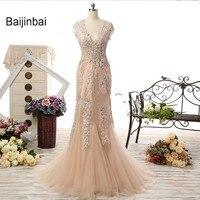 Baijinbai Hot Sale New Champagne Mermaid Lace Appliques Mother Of The Bride Dresses Short Sleeves Robe De Soiree Dress S7041403