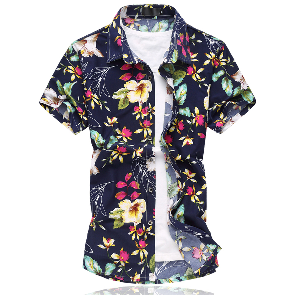 Floral Printed Men Shirts 2018 Summer Short Sleeve Leisure Fashion Flowers Hawai