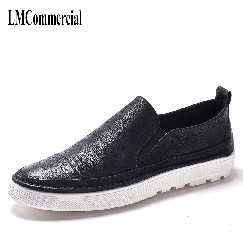 spring and autumn 2018 men's shoes leisure leather all-match cowhide Genuine Leather Shoes men Doug loafer Driving shoes цены