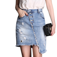 Plus Size Denim Skirt Women Summer Irregular Women's Skirts Buttoned Single Breasted Jeans Ripped High Waist Skirt Short 5XL 7XL