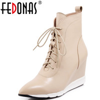 FEDONAS New Autumn Stiletto Wedges High Heels Pointed Toe Genuine Leather Sexy Ankle Boots Platforms Lace Up Martin Shoes Woman