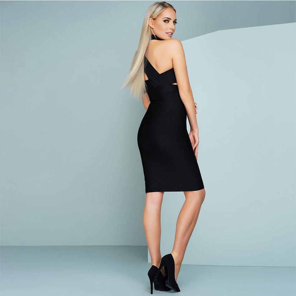Новое поступление черное платье без рукавов с принтом Бандажное платье Для женщин платье на одно плечо с чокером вырезы на платье Вечерние ночной клуб уличная одежда