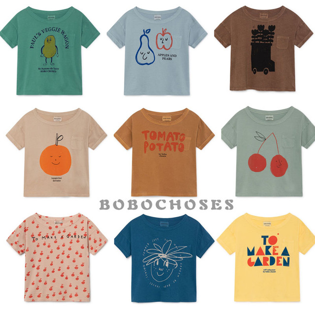 BBK בובו 2019 חדש קיץ תינוקת בגדי 100% כותנה קצר שרוול קריקטורה פעוט בני חולצות ילדי חולצות Tees C *