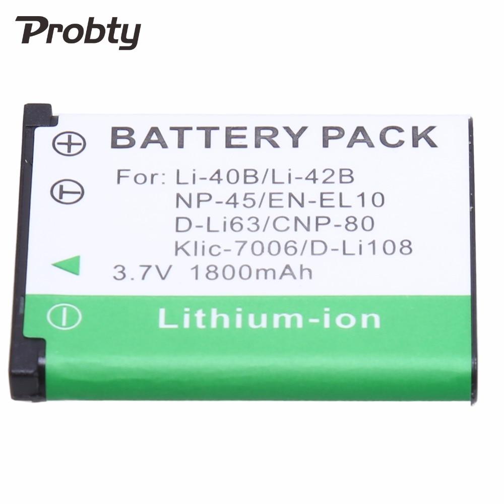 Probty 1PCS Li-40B Li-42B Li 40B 42B Li40B Camera Battery for Olympus Pentax D-Li63 Fuji NP-45 Nikon EN-EL10 NP80 CNP80 K7006