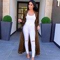 Gabardina 2016 Verde Negro Caqui Manga Larga Chic Y Moderno Mujeres Larga Capa Plumero 156 cm largo casaco feminino #84