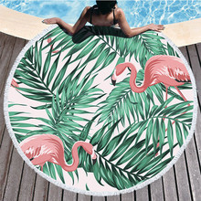Print Leaves Flower Flamingo Beach Towel Round Bath Large Microfiber Picnic Yoga Mat Blanket Carpet Toalla Playa 150cm