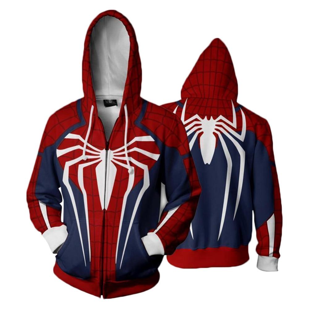 Cosplay Spiderman Hoodie Spider-Man Hoodies Venom 3D Printed Zipper Up Hooded Adult Men Women Casual Sweatshirts